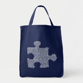 Pedazo azul del rompecabezas del autismo bolsa de mano