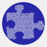 Pedazo azul del rompecabezas del autismo pegatina redonda