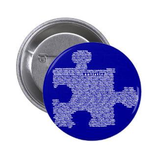 Pedazo azul del rompecabezas del autismo pin redondo 5 cm