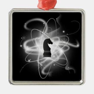 Pedazo de ajedrez atómico retro negro y blanco - c ornatos