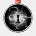 Pedazo de ajedrez atómico retro - rey adornos de navidad