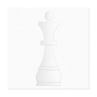 Pedazo de ajedrez blanco de la reina impresión en lona