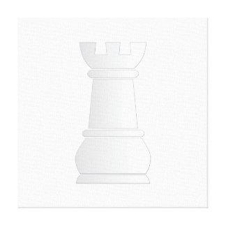 Pedazo de ajedrez blanco de la roca impresión en lona estirada