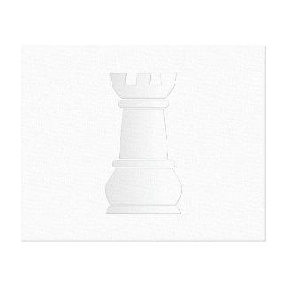 Pedazo de ajedrez blanco de la roca impresiones en lona