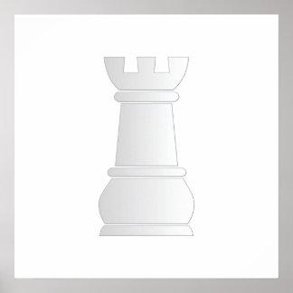 Pedazo de ajedrez blanco de la roca poster
