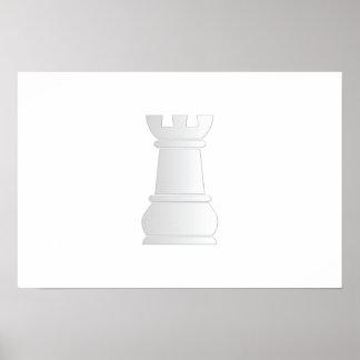 Pedazo de ajedrez blanco de la roca impresiones