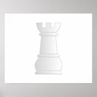 Pedazo de ajedrez blanco de la roca posters