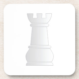 Pedazo de ajedrez blanco de la roca posavasos de bebidas