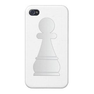 Pedazo de ajedrez blanco del empeño iPhone 4 carcasas
