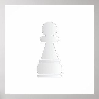 Pedazo de ajedrez blanco del empeño impresiones