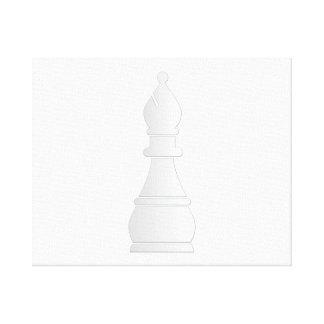 Pedazo de ajedrez blanco del obispo impresión en lona
