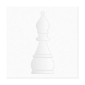 Pedazo de ajedrez blanco del obispo impresiones en lona