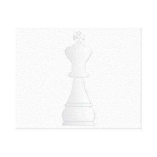 Pedazo de ajedrez blanco del rey lienzo envuelto para galerías