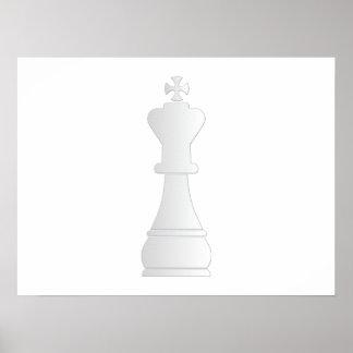 Pedazo de ajedrez blanco del rey posters