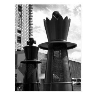 Pedazo de ajedrez blanco y negro 3 postales