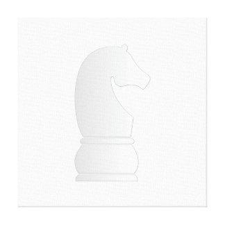 Pedazo de ajedrez del caballero blanco impresión en lona estirada