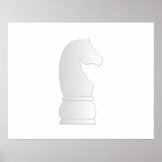 Pedazo de ajedrez del caballero blanco impresiones