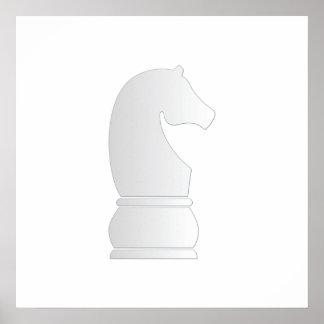 Pedazo de ajedrez del caballero blanco póster