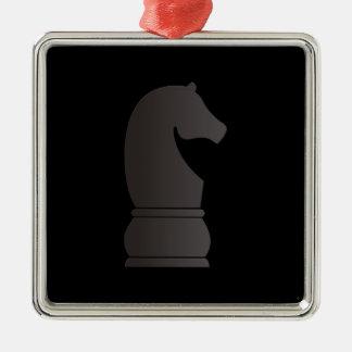 Pedazo de ajedrez del caballero negro adorno de reyes