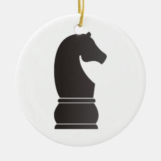 Pedazo de ajedrez del caballero negro adorno