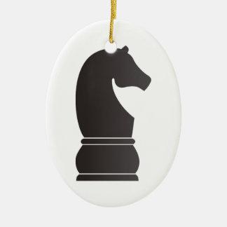 Pedazo de ajedrez del caballero negro adorno de navidad