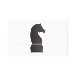Pedazo de ajedrez del caballero negro impresiones en lienzo estiradas