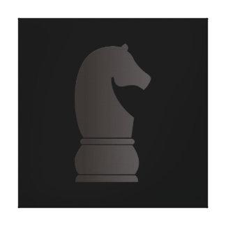 Pedazo de ajedrez del caballero negro impresiones en lona estiradas