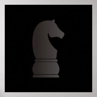 Pedazo de ajedrez del caballero negro poster