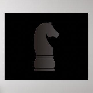Pedazo de ajedrez del caballero negro póster
