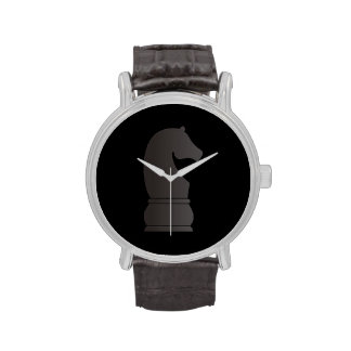 Pedazo de ajedrez del caballero negro relojes de mano