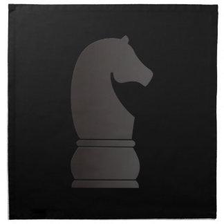 Pedazo de ajedrez del caballero negro servilletas imprimidas