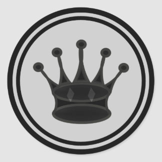 Pedazo de ajedrez negro de la reina pegatina redonda