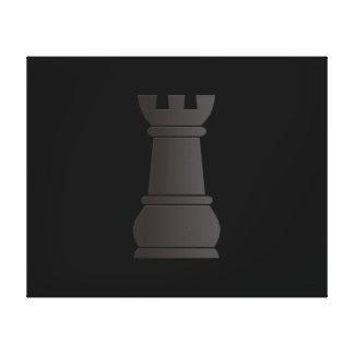 Pedazo de ajedrez negro de la roca impresión en lienzo estirada