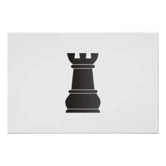 Pedazo de ajedrez negro de la roca posters