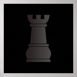 Pedazo de ajedrez negro de la roca poster