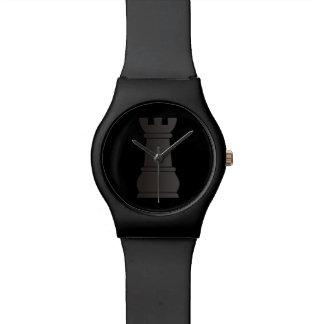 Pedazo de ajedrez negro de la roca relojes de mano