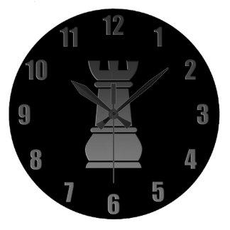 Pedazo de ajedrez negro de la roca reloj redondo grande