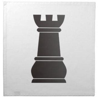 Pedazo de ajedrez negro de la roca servilletas imprimidas