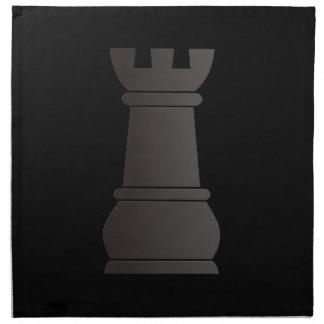 Pedazo de ajedrez negro de la roca servilletas de papel
