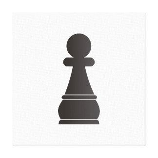 Pedazo de ajedrez negro del empeño impresion en lona