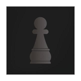Pedazo de ajedrez negro del empeño impresión en lona estirada