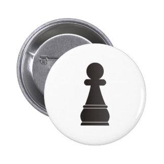 Pedazo de ajedrez negro del empeño pin redondo 5 cm