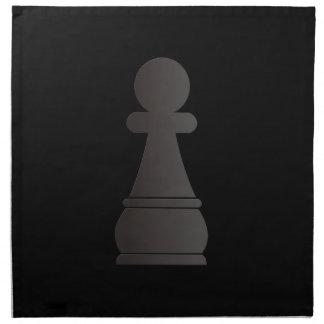 Pedazo de ajedrez negro del empeño servilletas de papel
