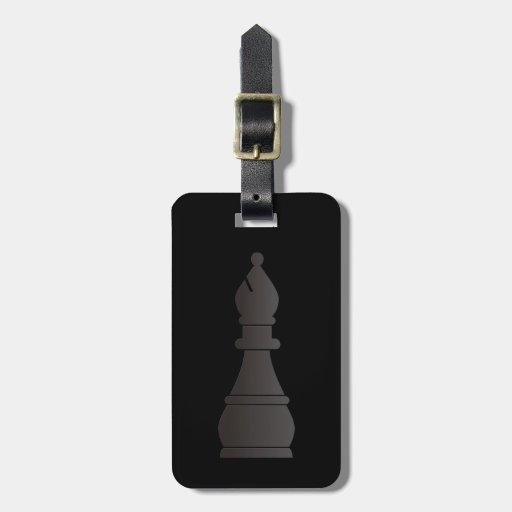 Pedazo de ajedrez negro del obispo etiqueta para equipaje