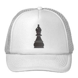 Pedazo de ajedrez negro del obispo gorro