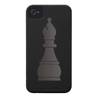 Pedazo de ajedrez negro del obispo iPhone 4 funda