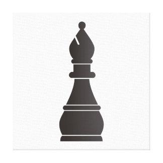Pedazo de ajedrez negro del obispo lona envuelta para galerias