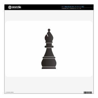 Pedazo de ajedrez negro del obispo MacBook air calcomanías