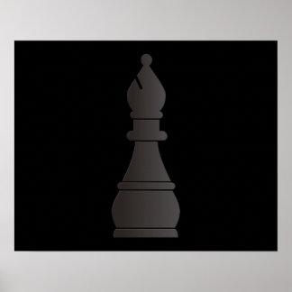 Pedazo de ajedrez negro del obispo póster