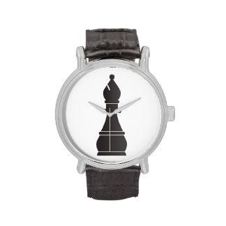 Pedazo de ajedrez negro del obispo relojes